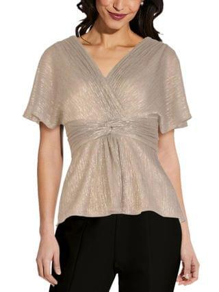 WOMEN V-Neck Knotted Metallic Top