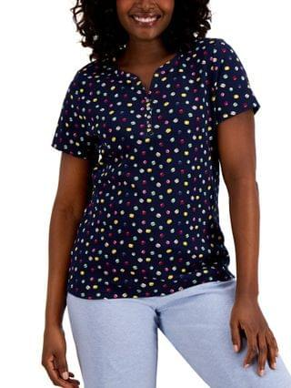 WOMEN Macaroon Mix-Up Printed Henley Top Created for Macy's
