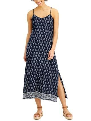 WOMEN Petite Printed Side-Slit Dress Created for Macy's