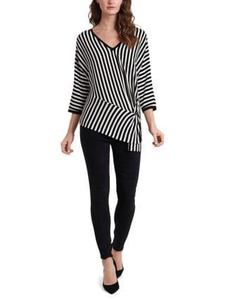WOMEN Striped Ribbed Sweater