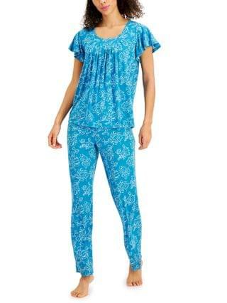 WOMEN Printed Pleated-Front Pajama Set Created for Macy's