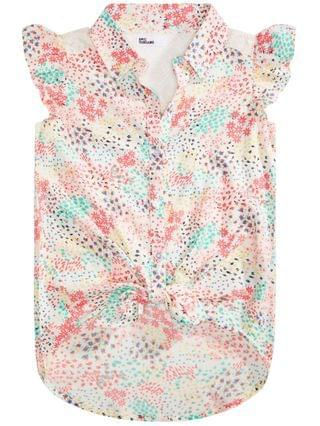 KIDS Big Girls Ditsy-Print Tie-Front Top Created for Macy's
