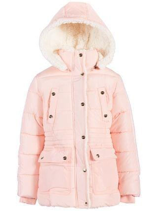 KIDS Toddler and Little Girls Puffer Coat with Faux Sherpa Lining