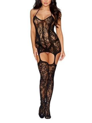 WOMEN Fishnet Halter Garter Dress with Attached Thigh High Stockings