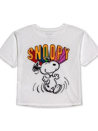 WOMEN Juniors' Snoopy-Graphic Cropped T-Shirt
