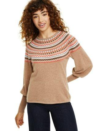 WOMEN Petite Fair Isle Balloon-Sleeve Cashmere Sweater Created for Macy's