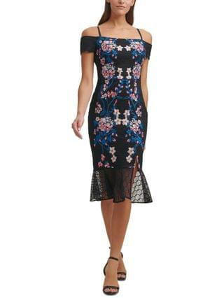 WOMEN Off-The-Shoulder Embroidered Lace Midi Dress