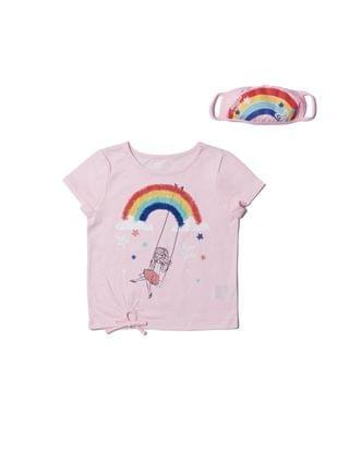 KIDS Little Girls Short Sleeve Graphic Tee with Match Back Face Mask