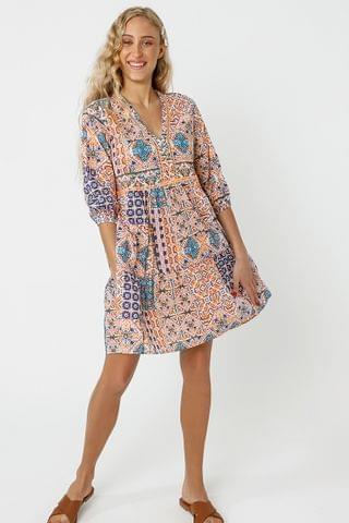 WOMEN Pattern Trapeze Dress