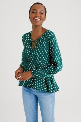 WOMEN Pattern Peplum Blouse