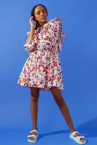 WOMEN Frill Trapeze Shirt Dress