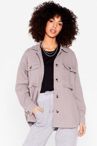 WOMEN Oversized Utility Pocket Shirt Jacket