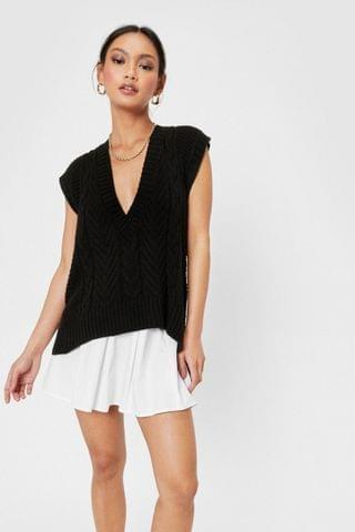 WOMEN Petite Cable Knitted Vest