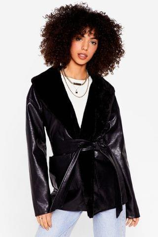 WOMEN Ready Faux Fur You Belted Faux Leather Jacket