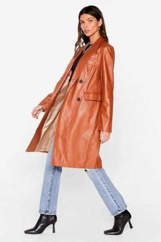 WOMEN Cover All Bases Faux Leather Longline Jacket