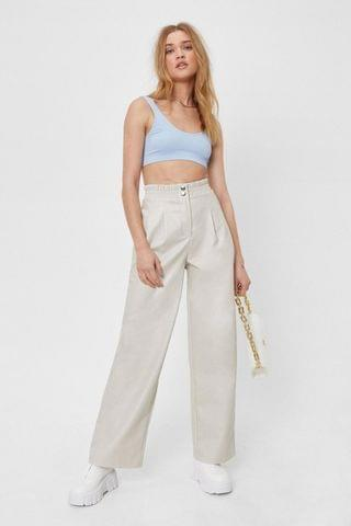 WOMEN Faux Leather High Waisted Wide Leg Pants
