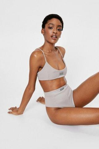 WOMEN Nasty Gal Ribbed Graphic Crop Top and Panty Set