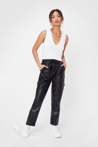 WOMEN Pocket On It High-Waisted Faux Leather Pants