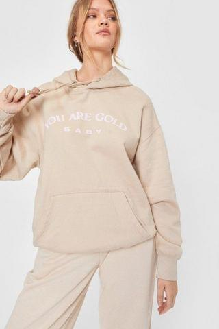 WOMEN You Are Gold Relaxed Graphic Hoodie