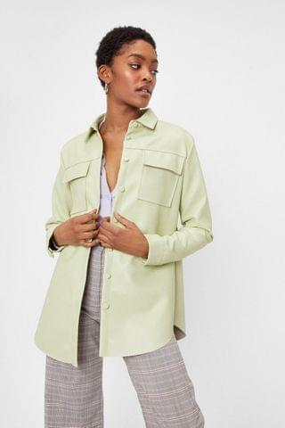 WOMEN Everywhere You Go Faux Leather Shirt Jacket