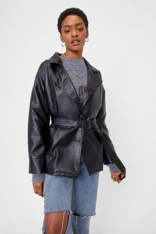 WOMEN Show Up Faux Leather Belted Jacket