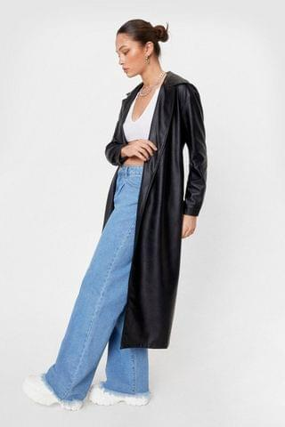 WOMEN Longline Time Comin' Faux Leather Shirt Jacket