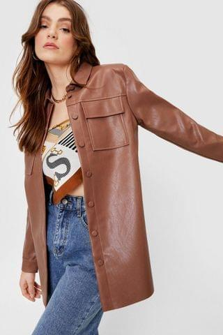 WOMEN Faux Leather Oversized Button Down Shirt Jacket