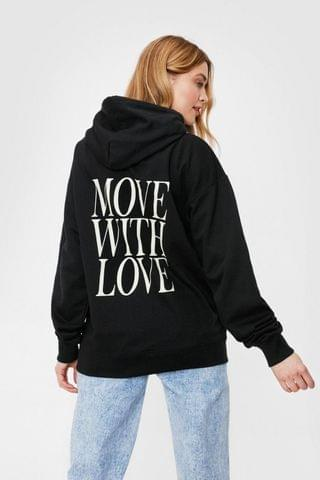 WOMEN Move With Love Oversized Graphic Hoodie