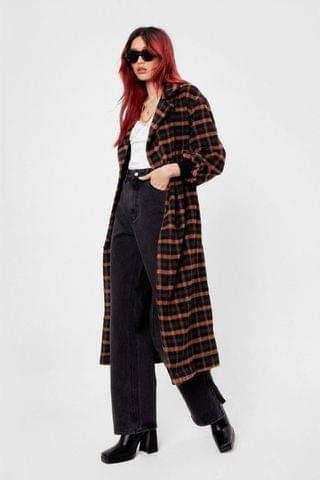WOMEN Check the Weather Faux Wool Belted Coat