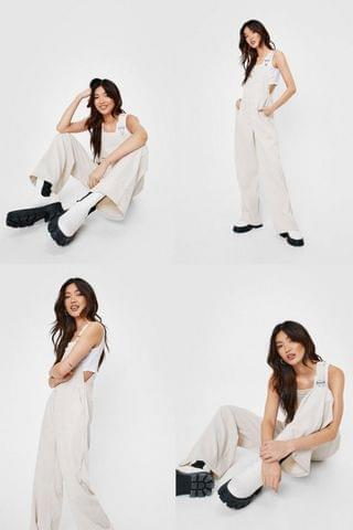 WOMEN Corduroy Relaxed Wide Leg Overalls