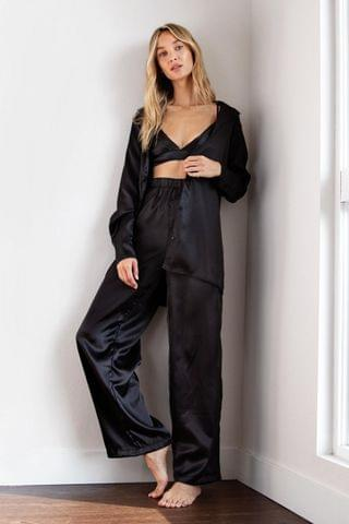 WOMEN Satin 3 Pc Oversized Pajama Shirt and Pants Set