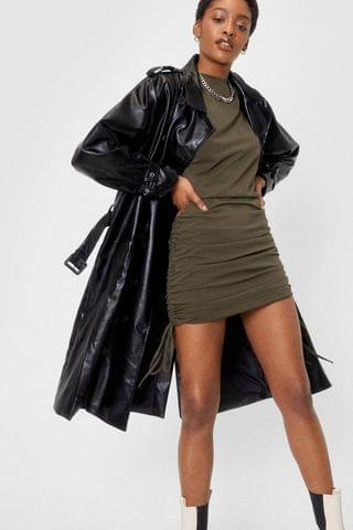 WOMEN Faux Leather Belted Longline Trench Coat