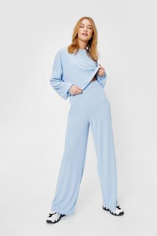 WOMEN Recycled Ribbed Wide Leg Pants Lounge Set