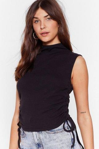 WOMEN No Ruche At All Ribbed High Neck Top