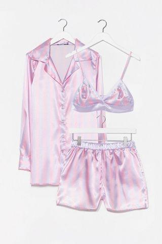WOMEN Satin Striped Print 3 Pc Pajama Shorts Set