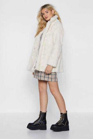 WOMEN Relaxed Faux Shearling Button Down Jacket