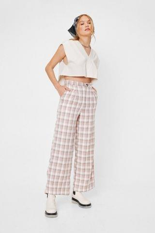 WOMEN Check Print High Waisted Tapered Pants