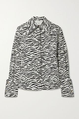 WOMEN A.W.A.K.E. MODE Zebra-print cotton-twill shirt