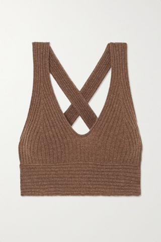 WOMEN LOULOU STUDIO Tromelin cropped ribbed m lange cashmere top