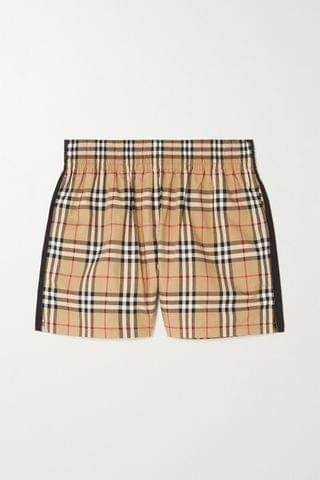 WOMEN BURBERRY Striped checked cotton-blend shorts