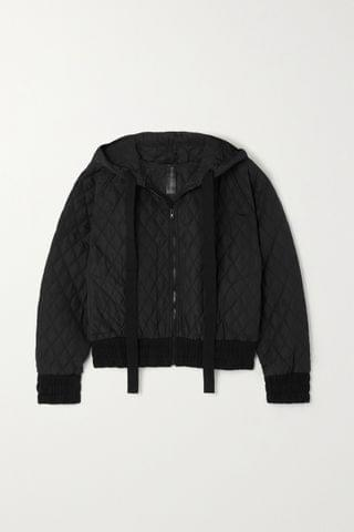 WOMEN NORMA KAMALI Cropped hooded quilted shell bomber jacket