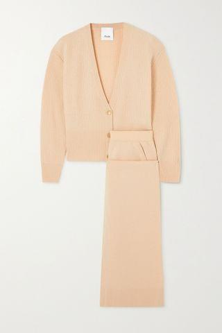 WOMEN ALLUDE Wool and cashmere-blend cardigan and pants set