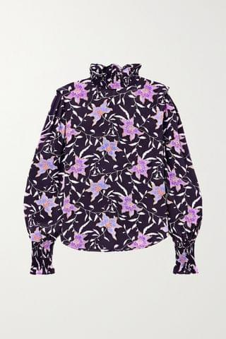 WOMEN ISABEL MARANT TOILE Yoshi shirred floral-print georgette blouse