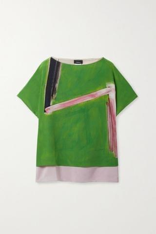 WOMEN AKRIS Layered printed mulberry silk-crepe and georgette top