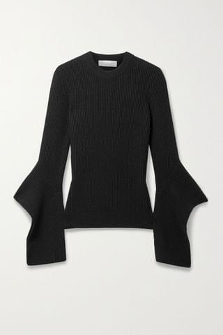 WOMEN MICHAEL KORS COLLECTION Draped ribbed cashmere sweater