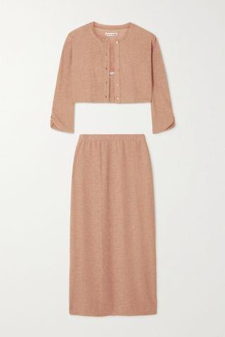 WOMEN REFORMATION + NET SUSTAIN Janice knitted cardigan, camisole and midi skirt set