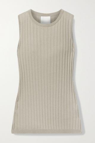 WOMEN ALLUDE Ribbed cotton and silk-blend tank