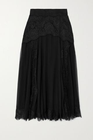 WOMEN DOLCE & GABBANA Lace and silk-blend chiffon midi skirt