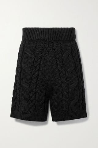 WOMEN I LOVE MR MITTENS Cable-knit wool shorts