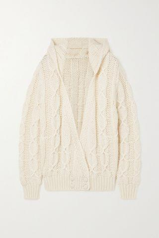 WOMEN SAINT LAURENT Hooded cable-knit wool-blend cardigan